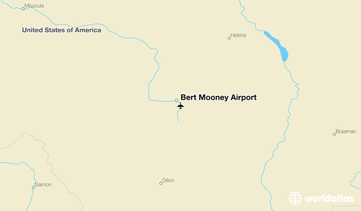 Bert Mooney Airport location on a map