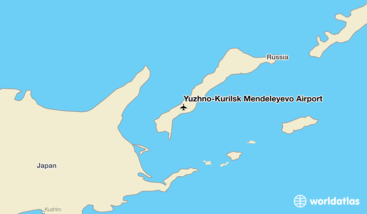 Yuzhno-Kurilsk Mendeleyevo Airport location on a map