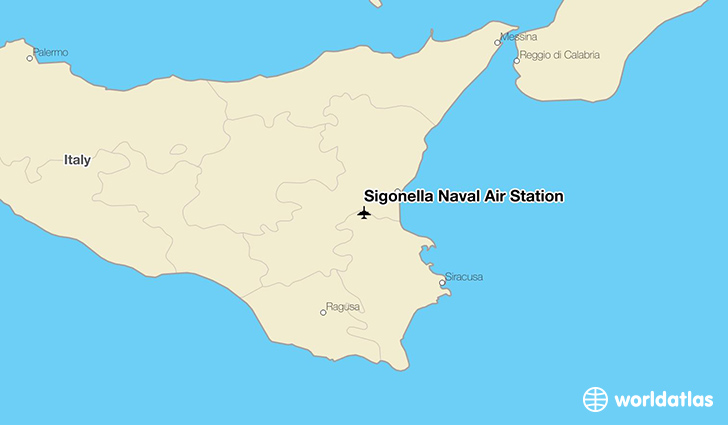 Sigonella Naval Air Station location on a map