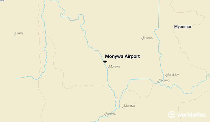 Monywa Airport location on a map