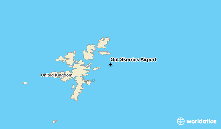 Out Skerries Airport location on a map