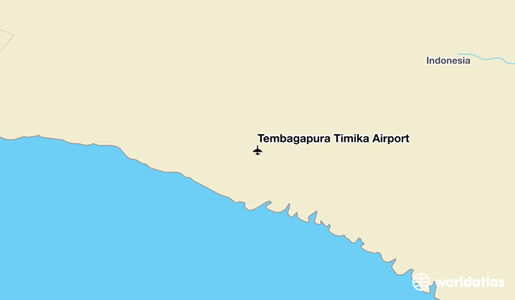 Tembagapura Timika Airport location on a map