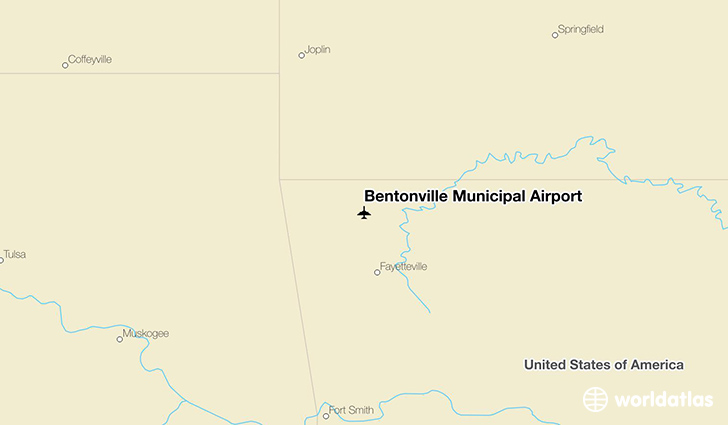 Bentonville Municipal Airport location on a map
