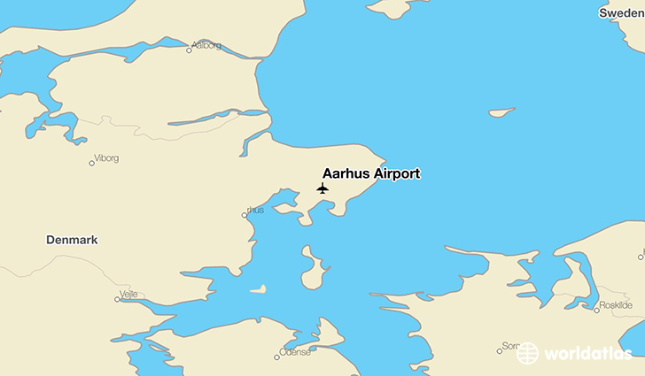Aarhus Airport location on a map
