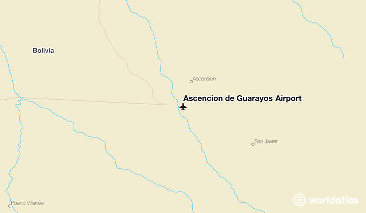 Ascención de Guarayos Airport location on a map