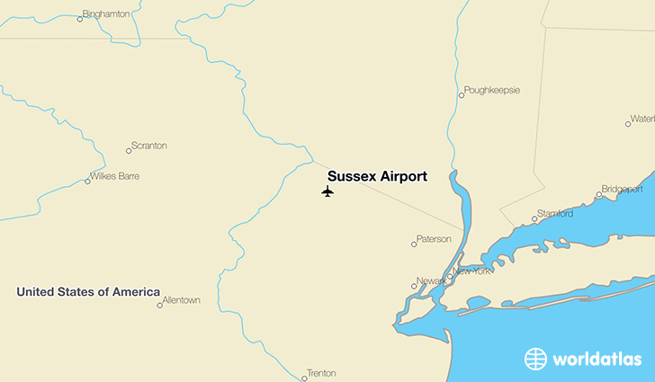 Sussex Airport location on a map