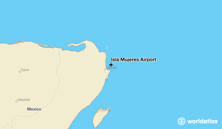 Isla Mujeres Airport location on a map