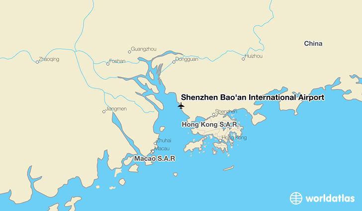 Shenzhen Bao'an International Airport location on a map