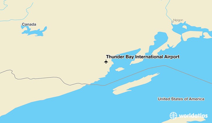 Thunder Bay International Airport location on a map