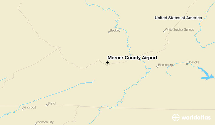 Mercer County Airport location on a map