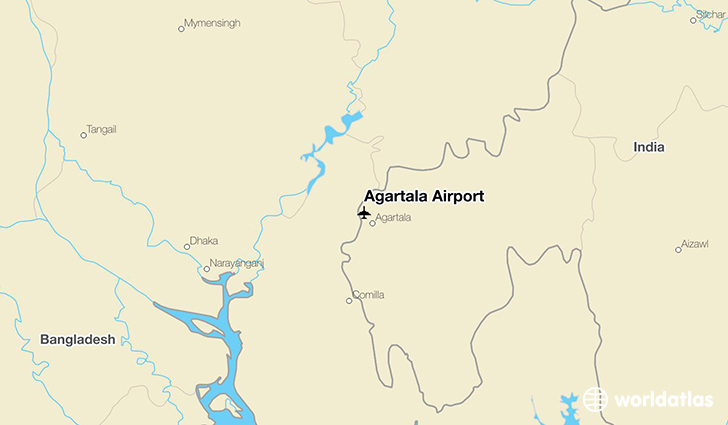 Agartala Airport location on a map