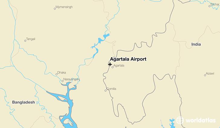 Agartala Airport IXA WorldAtlas - Balurghat map