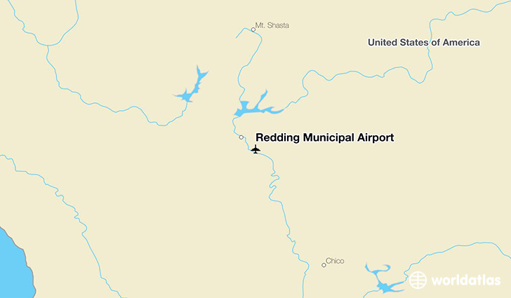 Redding Municipal Airport location on a map