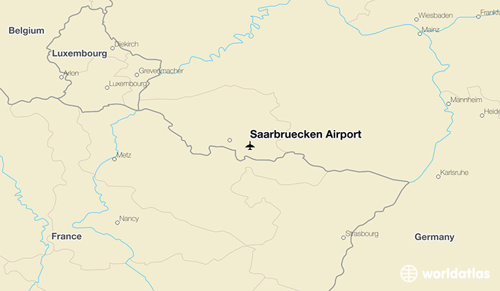 Saarbrücken Airport location on a map