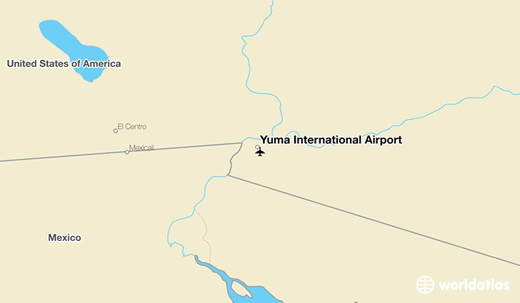 Yuma International Airport location on a map