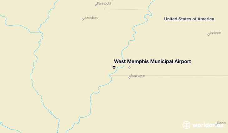 West Memphis Municipal Airport location on a map