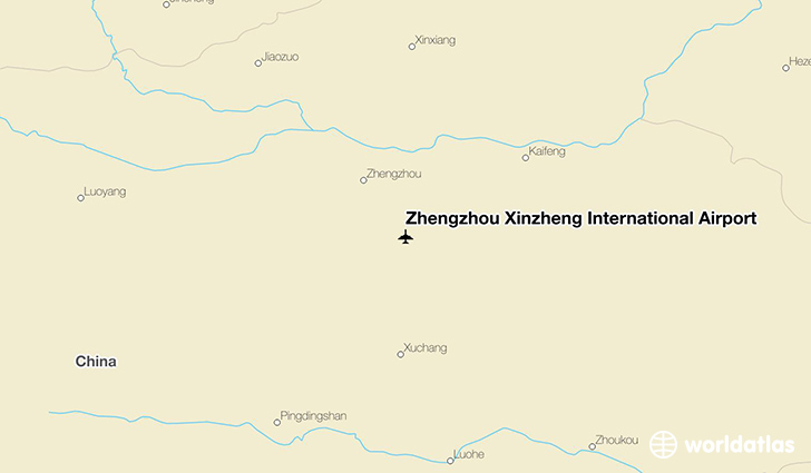 Zhengzhou Xinzheng International Airport location on a map