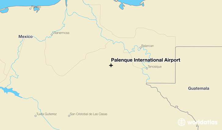 Palenque International Airport location on a map
