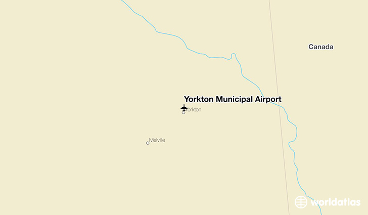 Yorkton Municipal Airport location on a map
