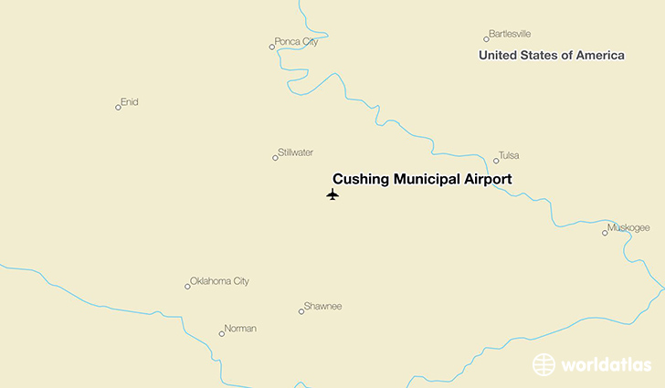 Cushing Municipal Airport location on a map