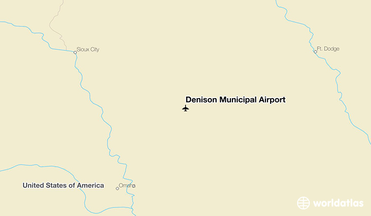 Denison Municipal Airport location on a map