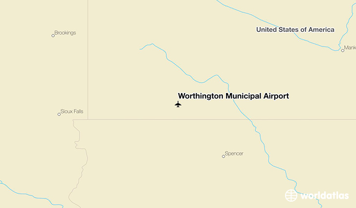 Worthington Municipal Airport location on a map