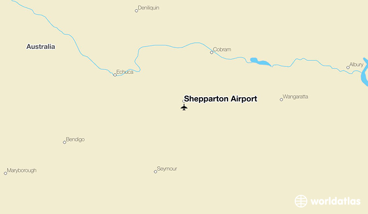 Shepparton Airport location on a map