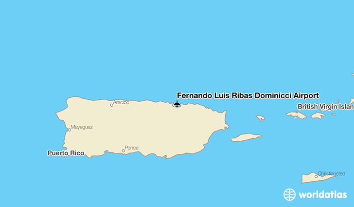 Fernando Luis Ribas Dominicci Airport location on a map