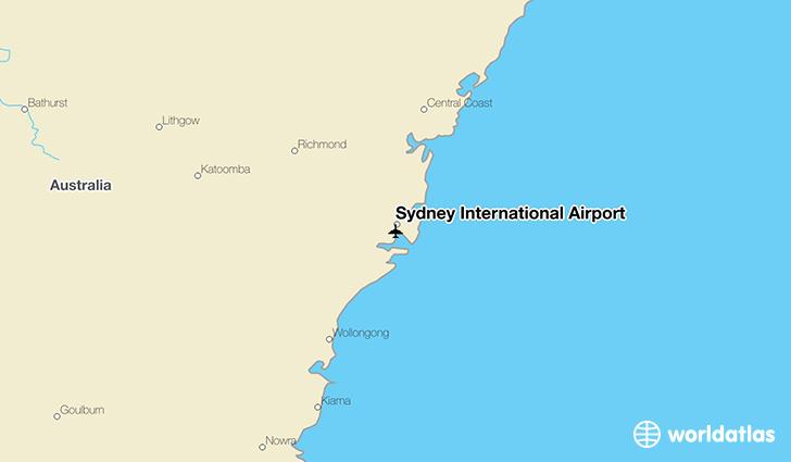 Sydney International Airport (SYD) - WorldAtlas on sydney australia downtown map, sydney international airport terminal map, sydney australia beach map, sydney australia hotel map, sydney new south wales australia map,