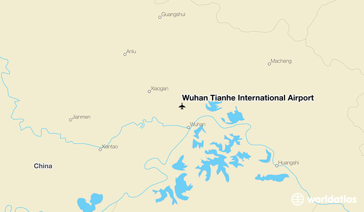 Wuhan Tianhe International Airport location on a map