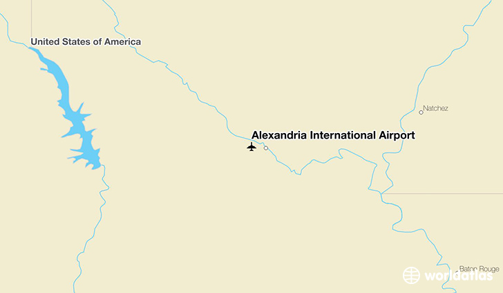 Alexandria International Airport location on a map