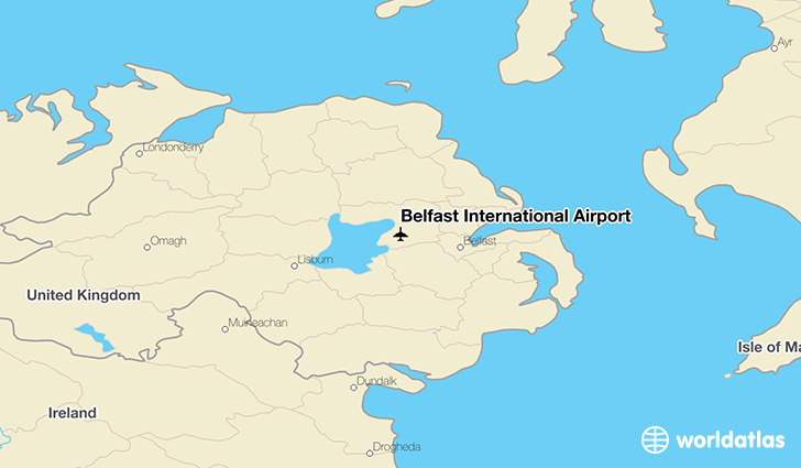 Belfast International Airport location on a map