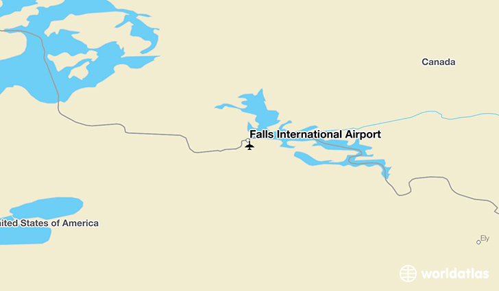Falls International Airport location on a map