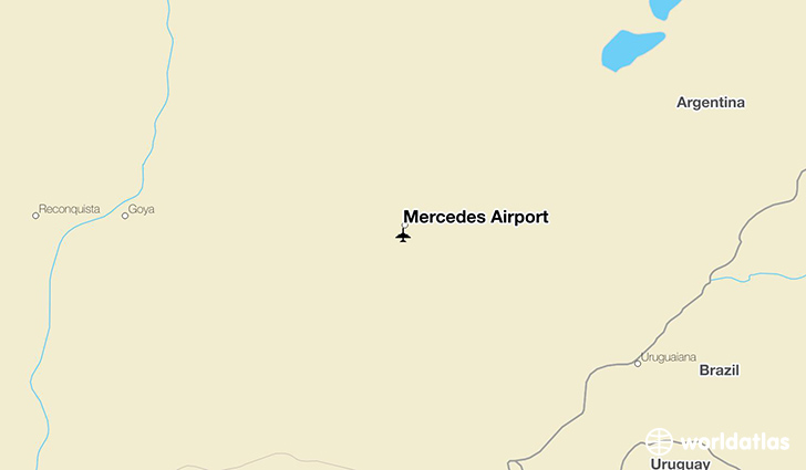 Mercedes Airport location on a map