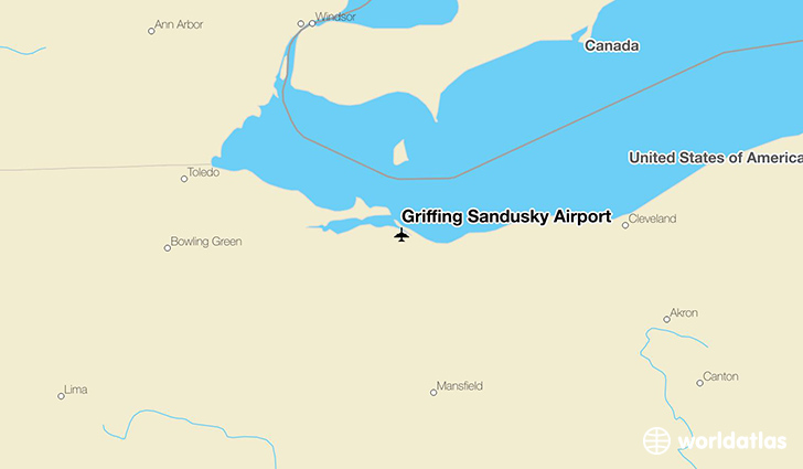 Griffing Sandusky Airport location on a map