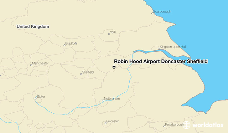 Robin Hood Airport Doncaster Sheffield location on a map
