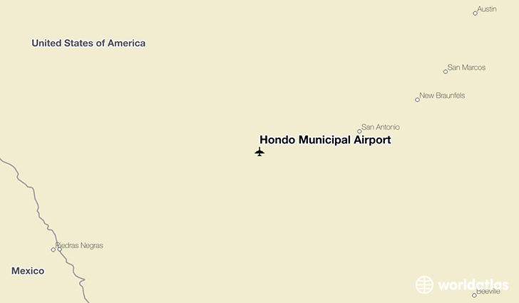 Hondo (TX) United States  City pictures : Location of Hondo Municipal Airport on a map.