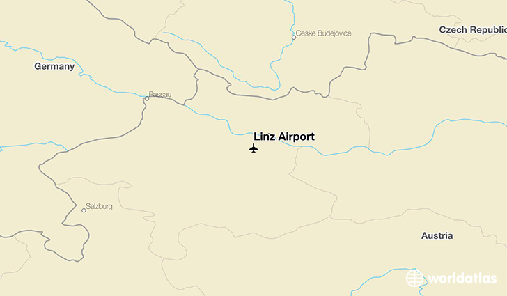 Linz Airport location on a map