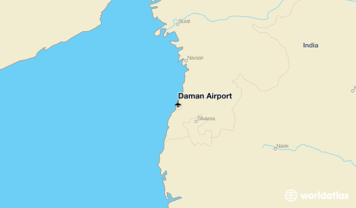 Daman Airport location on a map