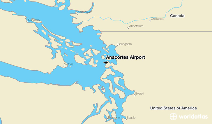 Anacortes Airport location on a map