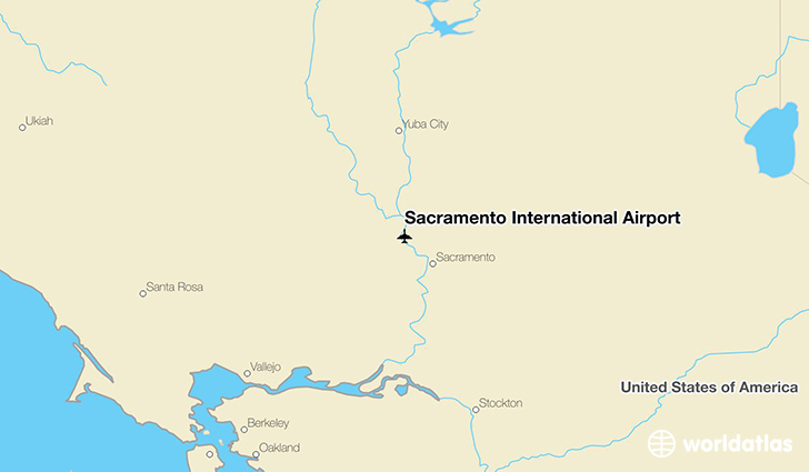 Sacramento International Airport location on a map