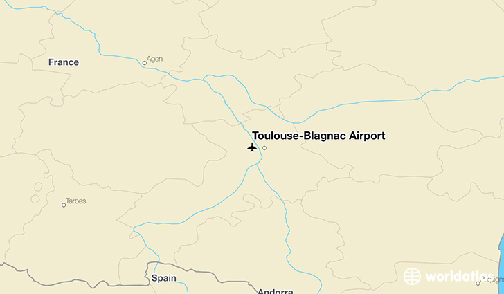 Toulouse-Blagnac Airport location on a map
