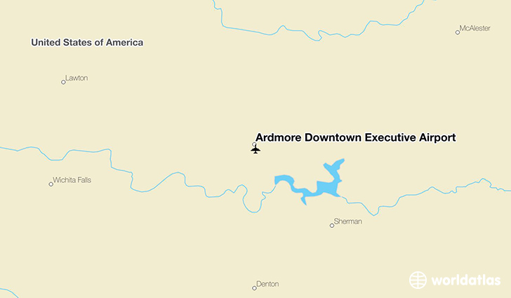 Ardmore Downtown Executive Airport location on a map