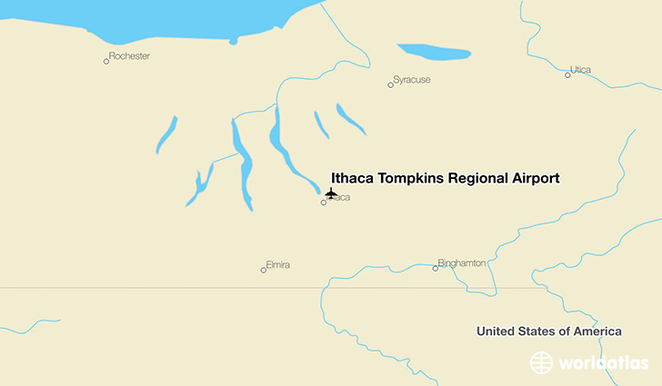 Ithaca Tompkins Regional Airport location on a map