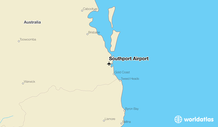 Southport Airport location on a map