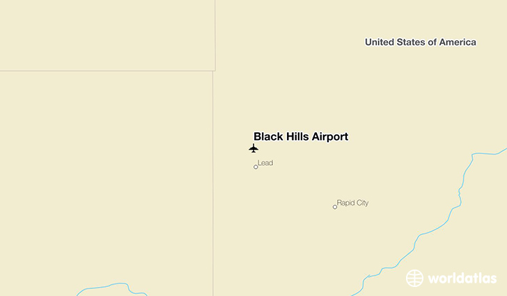 Black Hills Airport location on a map