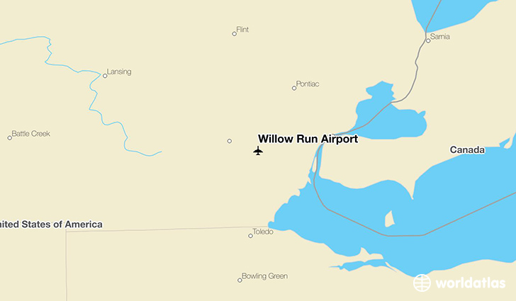 Willow Run Airport location on a map