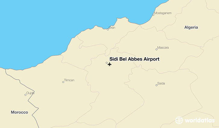 Sidi Bel Abbes Airport location on a map