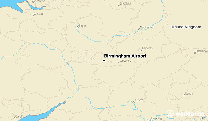 Birmingham Airport location on a map