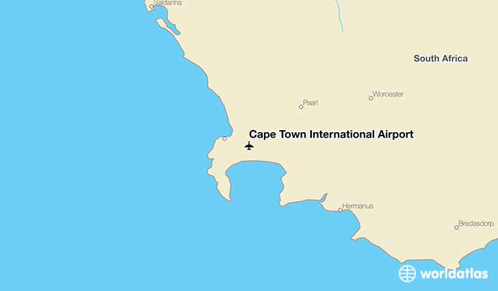 Cape Town International Airport location on a map